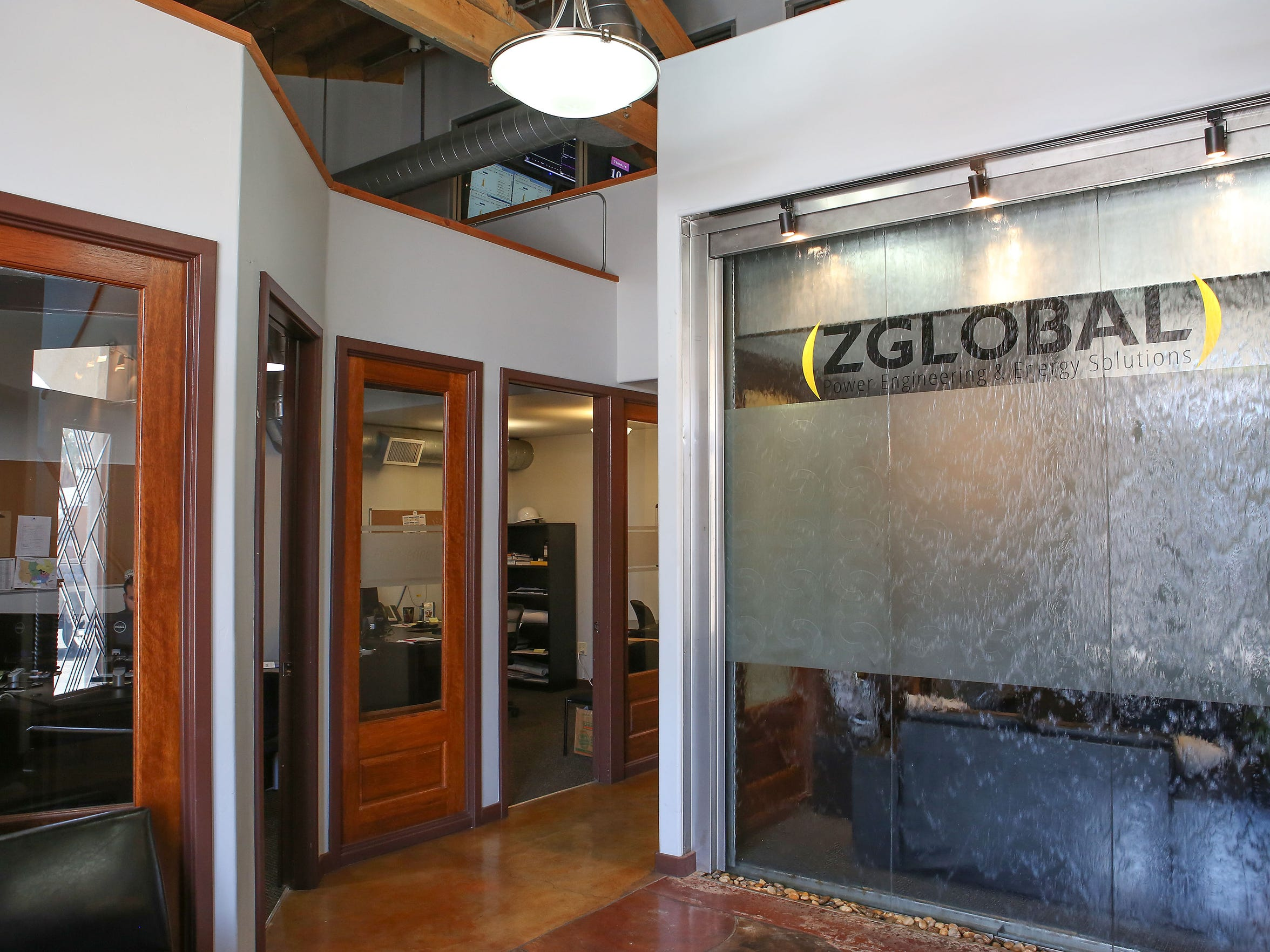 A waterfall flows inside ZGlobal's office in El Centro,