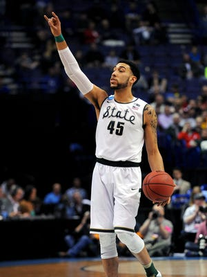 Denzel Valentine calls out a play during his final game at Michigan State, a stunning first-round NCAA tournament loss to Middle Tennessee. Valentine averaged 19.2 points, 7.8 assists and 7.5 rebounds during his senior season.