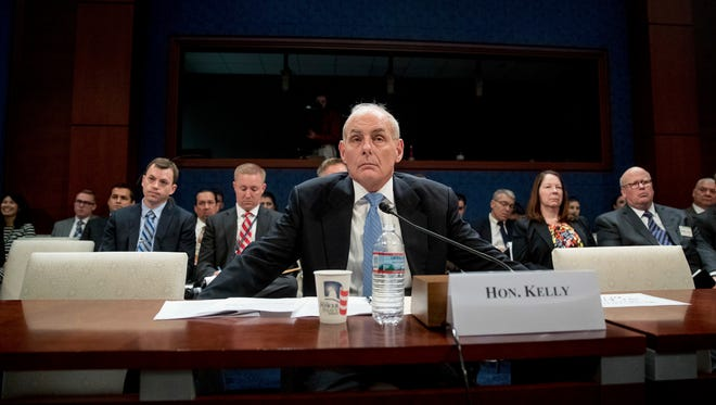 Homeland Security Secretary John Kelly listens to a question while testifying on Capitol Hill on Feb. 7, 2017, before the House Homeland Security Committee.