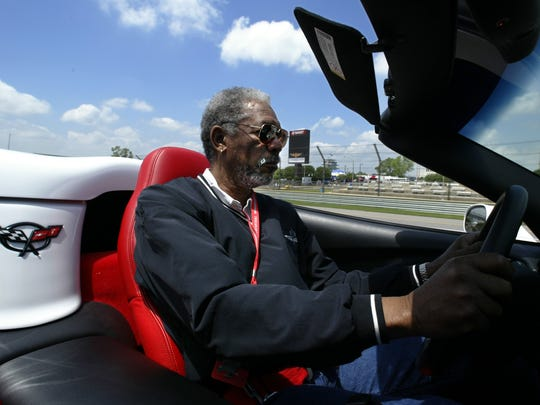 Pace-car driver Morgan Freeman takes a practice lap at Indianapolis Motor Speedway in 2004.