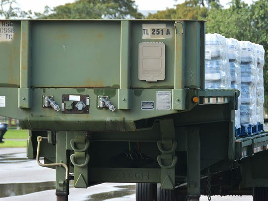 The Louisiana National Guard's 1087th Transportation Company, 165th Combat Sustainment Support Battalion, 139th Regional Support Group, stage trailers carrying water at Jackson Barracks in New Orleans in support of the Tropical Storm Harvey relief effort. The commodities are staged at various points throughout the state in order to provide quick distribution to citizens in affected areas.