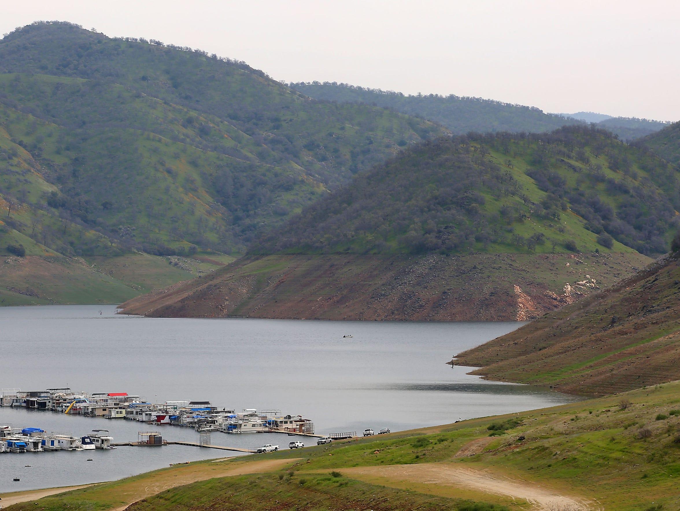 The levels of Pine Flat Reservoir near Fresno were