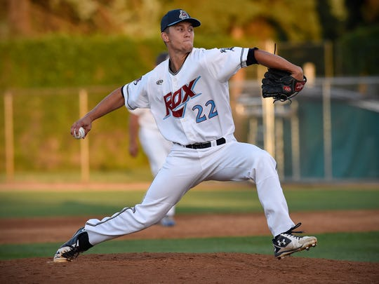 Chris Martin pitches for the St. Cloud Rox during Thursday's game against La Crosse at Joe Faber Field in St. Cloud.
