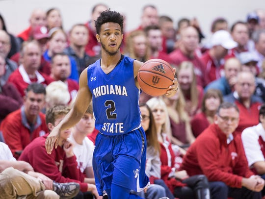 Jordan Barnes of Indiana State University, during game