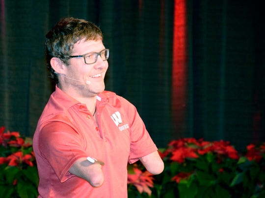 "Chris Koch, from Canada, speaks at the Wisconsin Farm Bureau Federation conference on Dec. 3 in Wisconsin Dells. Koch travels around the world sharing his message of, ""If I Can..."""