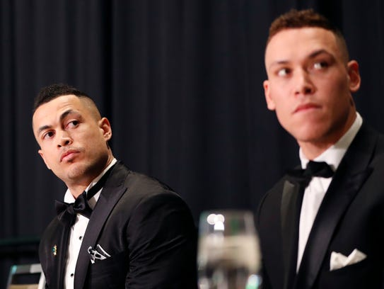 National League Most Valuable Player Giancarlo Stanton,