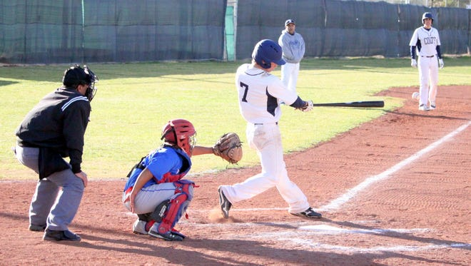 Austin Larm tallies this hit for the Colts during action Tuesday evening against Hot Springs. He was 2-for-3, with two RBIs and a walk in the win.