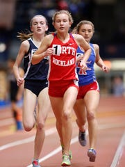 North Rockland's Katelyn Tuohy, center, runs the 3,000 meters with Suffern's Mary Hennelly, left, and Pearl River's Mary Borkoski during the Rockland/North County Track & Field Championships at the Armory in New York in January. Tuohy finished first in 10:00.9.