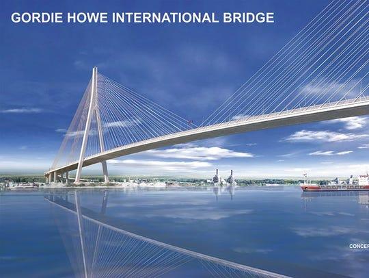 A rendering of the Gordie Howe International Bridge,