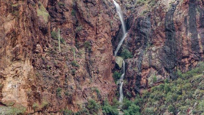 Waterfalls can start flowing after rain and snowmelt. The Superstition Mountains are a good place to look. This pic was snapped in 2016 on Bush Highway northeast of Mesa.