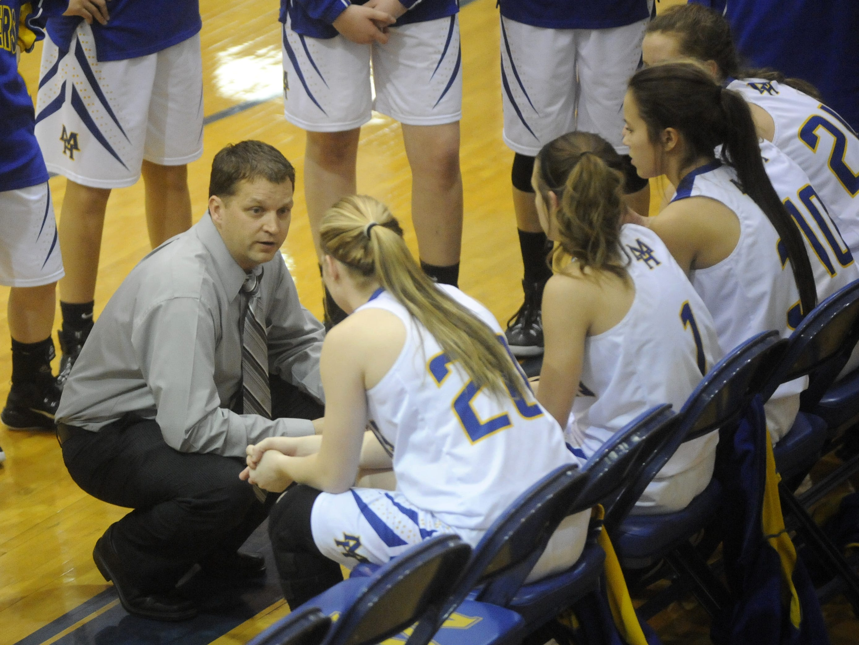 Mountain Home head coach Dell Leonard instructs his team during a timeout last season.