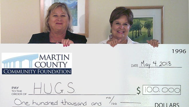 Karen Ripper, left, president and CEO of the Council on Aging of Martin County, and Mary Barnes, president and CEO of Alzheimer's Community Care, hold the $100,000 check for the Martin County HUGS program.
