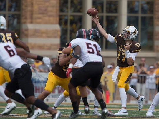 Wyoming quarterback Josh Allen (17) throws a pass against Gardner-Webb during an NCAA college football game Saturday, Sept. 9, 2017, in Laramie, Wyo. (Josh Galemore/The Casper Star-Tribune via AP)