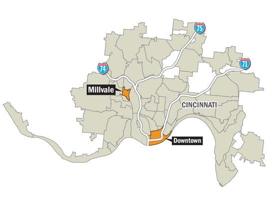 Map of Millvale in relation to Downtown.