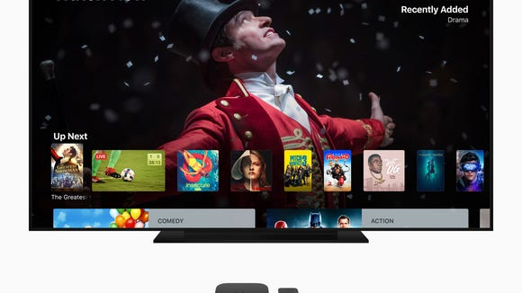 An Apple TV showing a variety of programming.