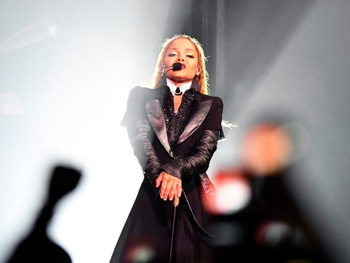 Janet Jackson arrives on stage at Little Caesars Arena