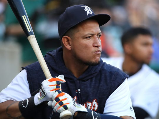 Miguel Cabrera takes practice swings in the dugout while the team plays the Rays at Comerica Park on May 1.