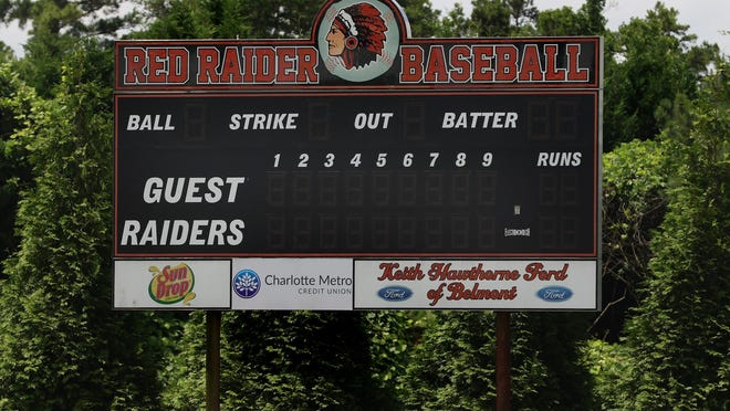 The baseball scoreboard at South Point High School in Belmont Thursday afternoon, June 25, 2020.