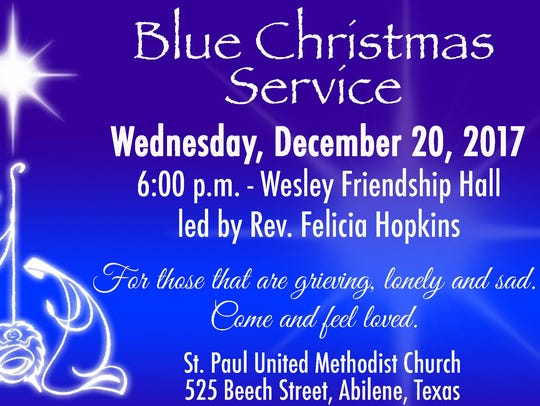 Blue Christmas will be Dec. 20.