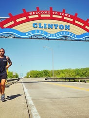 Christian Griffith stopped in Clinton on his way through