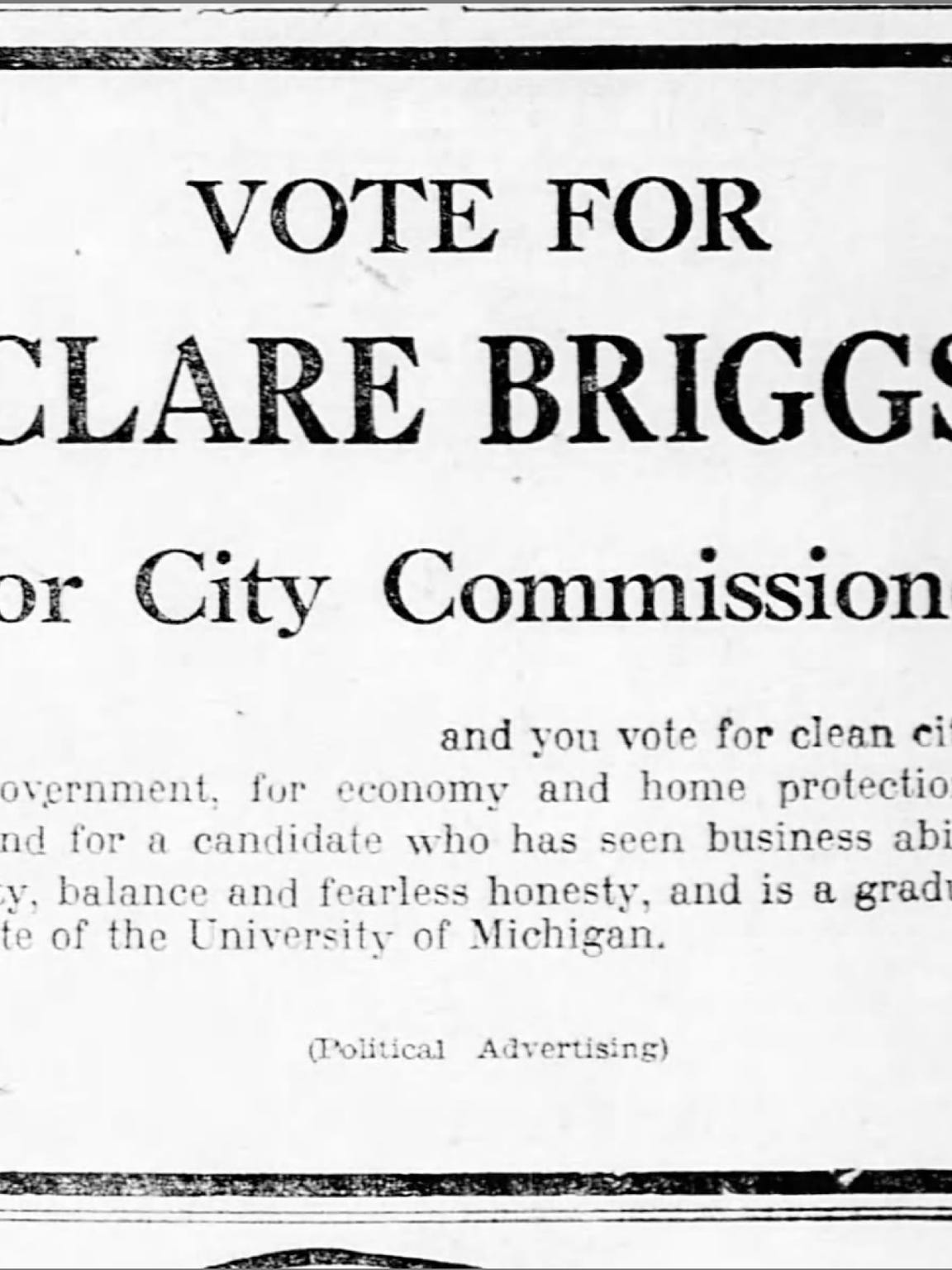 A political advertisement published in a March 1925