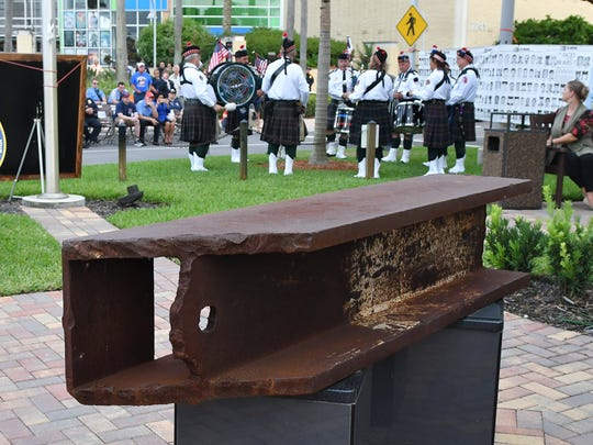 Last year: Several hundred people attended Tuesday evening's Space Coast Remembers, a 9/11 Memorial event at The Avenue Viera, where there is a section of the World Trade Center steel I-Beam is on year-round display.