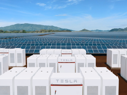 A Tesla Powerpack connected to solar panels on the