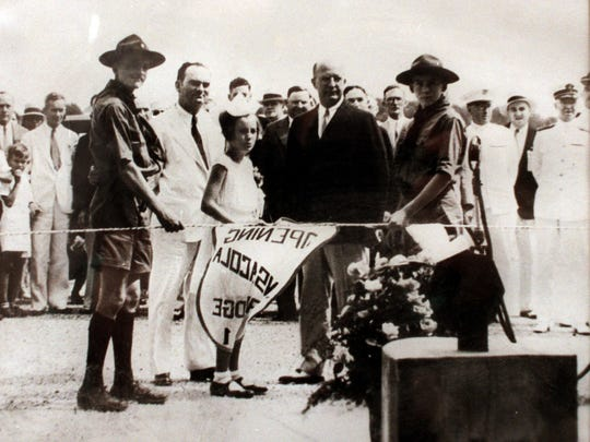 Julius F. Wernicke Jr., left, participated in the dedication ceremonies for the original Pensacola Bay Bridge as shown in this photo taken in June 1931.