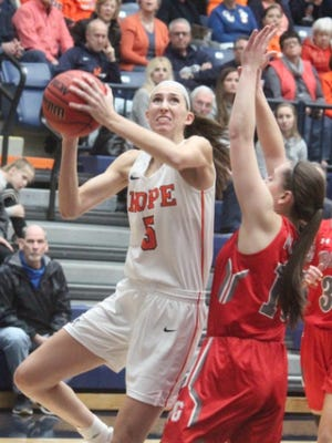 Hope's Olivia Voskuil puts up a shot in a game last season