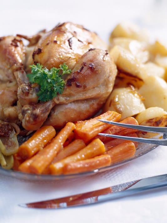 A complete chicken dinner