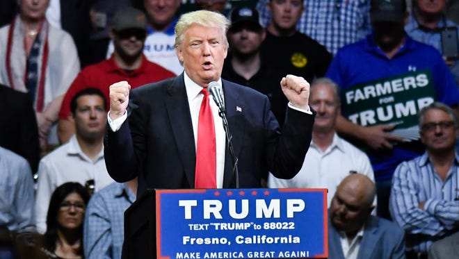 Donald Trump speaks to supporters at Selland Arena in Fresno, Calif., on May 27, 2016.