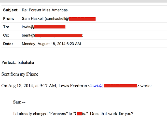 Several emails with vulgar and insulting language referring