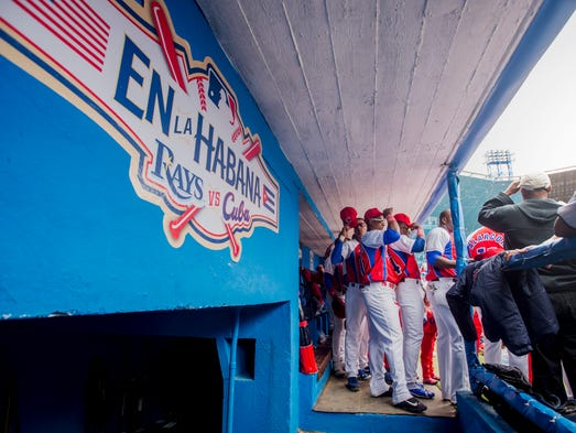 Cuban national team's dugout after observing a moment