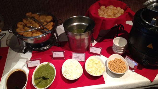 The panipuri spread at Amaya Indian Cuisine's lunch buffet in Brighton.