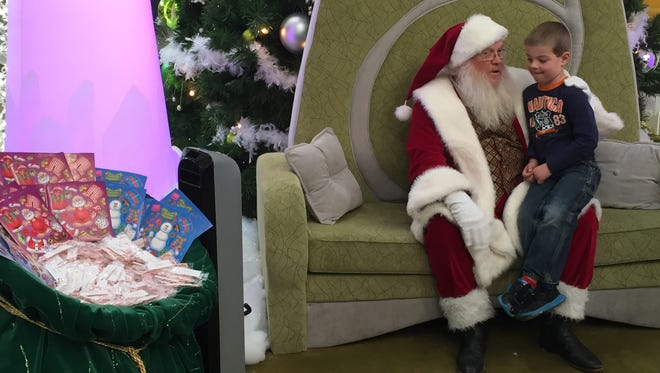 Santa arrived at Meadowood Mall in Reno on Friday.