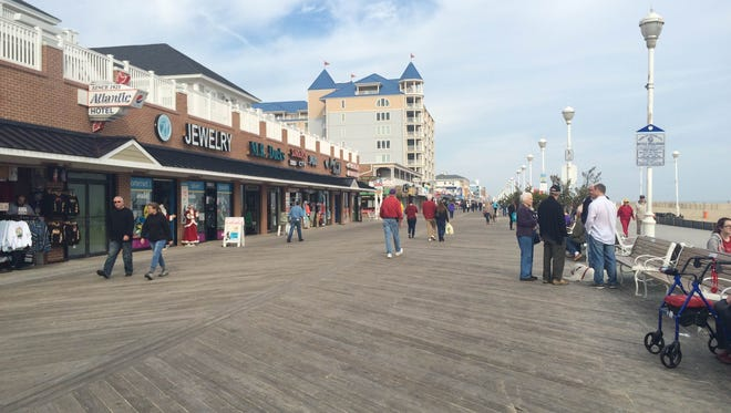 The Ocean City Boardwalk was busy Sunday, Dec. 13, due to unusually warm weather.