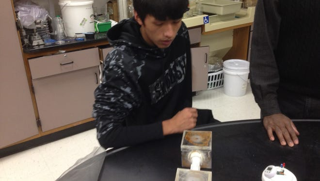 Student scientist Matias LaPaz explains how his prototype might be a key to discovering how to produce useful amounts of electricity from dirt.