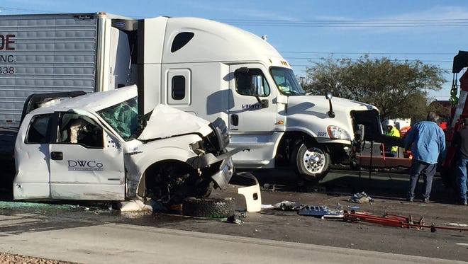 Traffic is backed up at Interstate 10 at Lomaland Drive on Monday, where an accident involving work crews and sheriff's officers occurred shortly before 5 a.m.