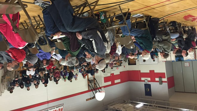 Underhill residents take part in Town Meeting Day discussion March 1, 2016, at Browns River Middle School in Jericho.