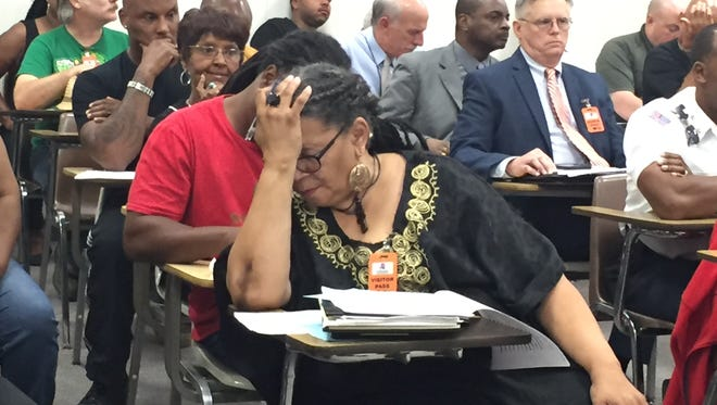 Marja Broussard, NAACP president, reacts to comments Nov. 9 2016 at a Lafayette fire and police civil service board meeting.