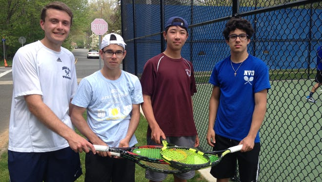 Indian Hills' Craig Rosen, Don Bosco's Oliver Rodriguez, Ridgewood's Kobe Ellenbogen, NV/Demarest's Carlos Vasquez at the Bergen County Tournament Large-Schools First-Singles quarterfinals on Saturday, April 29, 2017. This group will play in the semifinals on Sunday.