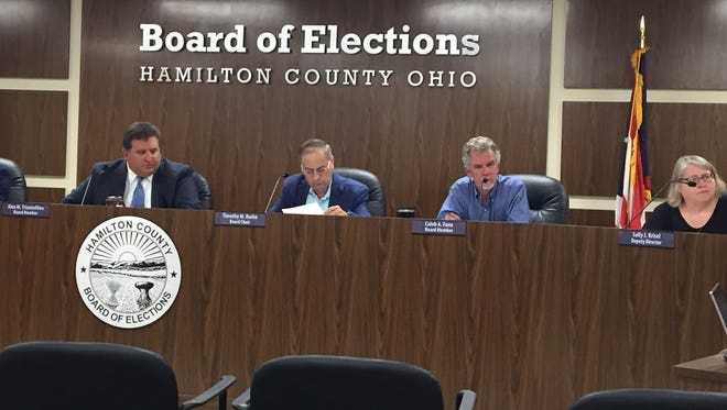 The Hamilton County Board of Elections considers a protest filed regarding a petition for the recall of Loveland Mayor Mark Fitzgerald.