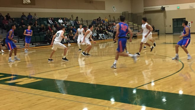 Mountain View raced past Bishop Manogue in the Wild West Shootout boys basketball tournament,  63-41.