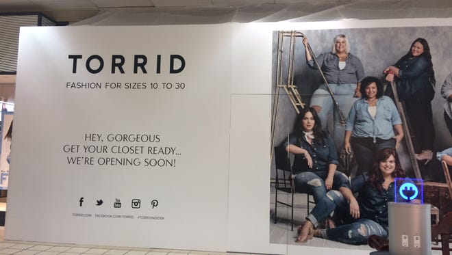 Torrid, a clothing store for sizes 10-30, is expected to open Feb. 27.