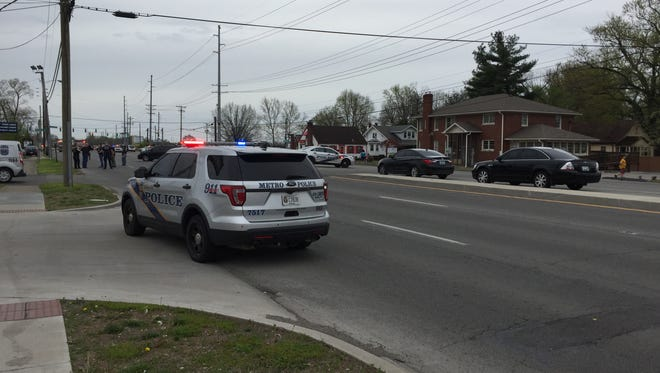 Scene of a reported shooting near Bardstown Road and Bashford Manor Lane April 22.