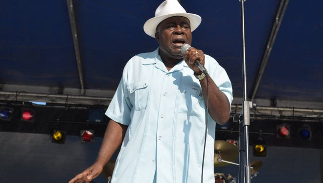 Blues singer Bobby G leads his band in concert at the Rotary Club's Blues, Brews &  Brats Festival on Saturday.