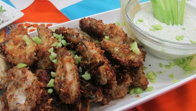 Oven-Fried Parmesan-Crusted Chicken Wings & Ranch Dip