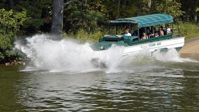 Original Wisconsin Ducks tours of Wisconsin Dells on land-water vehicles began in 1946.