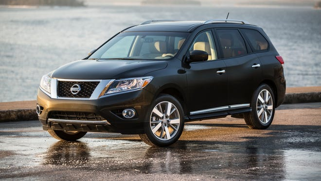 The 2016 Pathfinder starts with an upscale exterior, which presents a smart fusion of signature Nissan styling cues and dynamic strength. The look is adventure-ready with wheel-oriented muscular fenders and a strong, stable stance. The upper body features an open cabin with a low beltline and thin A- and D-pillars, which flow smoothly into the rugged, durable-looking lower body. And, through the use of front and rear spoilers, rear tire deflectors and rear suspension fairings, Pathfinder achieves one of the best aerodynamic performances in the segment – a 0.34 coefficient of drag.   Other exterior details include a wide chrome grille and large aerodynamic headlights, recessed front windshield wipers, roof rails, chrome door handles and large rear combination lights. An available Dual Panorama Moonroof (standard on Platinum) with sliding opening front panel and fixed rear glass panel, which extends over the 2nd and 3rd rows, combines with the large windows to create an open, airy interior environment.   Nine exterior colors are offered for 2015: Java Metallic, Midnight Jade, Brilliant Silver, Gun Metallic, Magnetic Black, Cayenne Red, Glacier White, Pearl White and Arctic Blue Metallic.