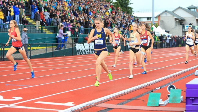 Michigan's Jaimie Phelan wins the NCAA women's 1,500m on June 10, 2017 at Hayward Field in Eugene, Ore.